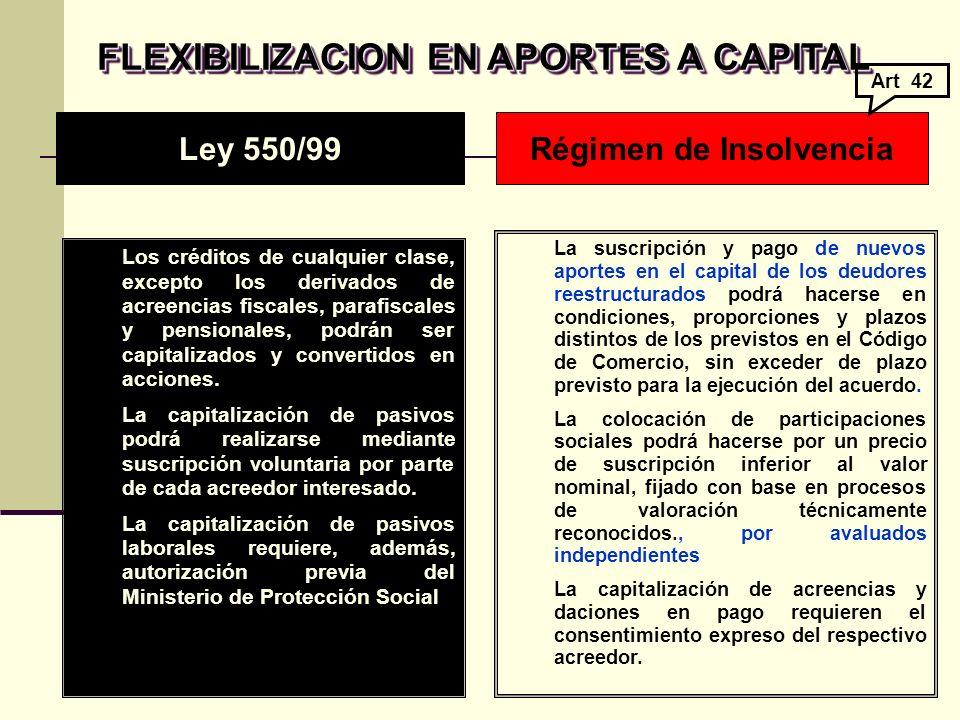 FLEXIBILIZACION EN APORTES A CAPITAL Régimen de Insolvencia