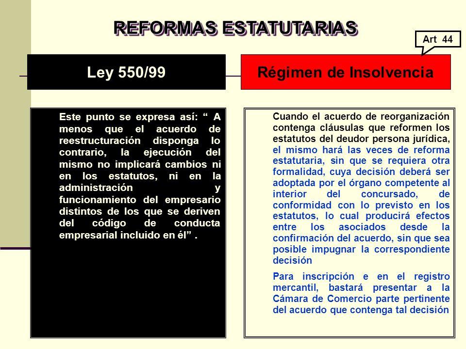 REFORMAS ESTATUTARIAS Régimen de Insolvencia