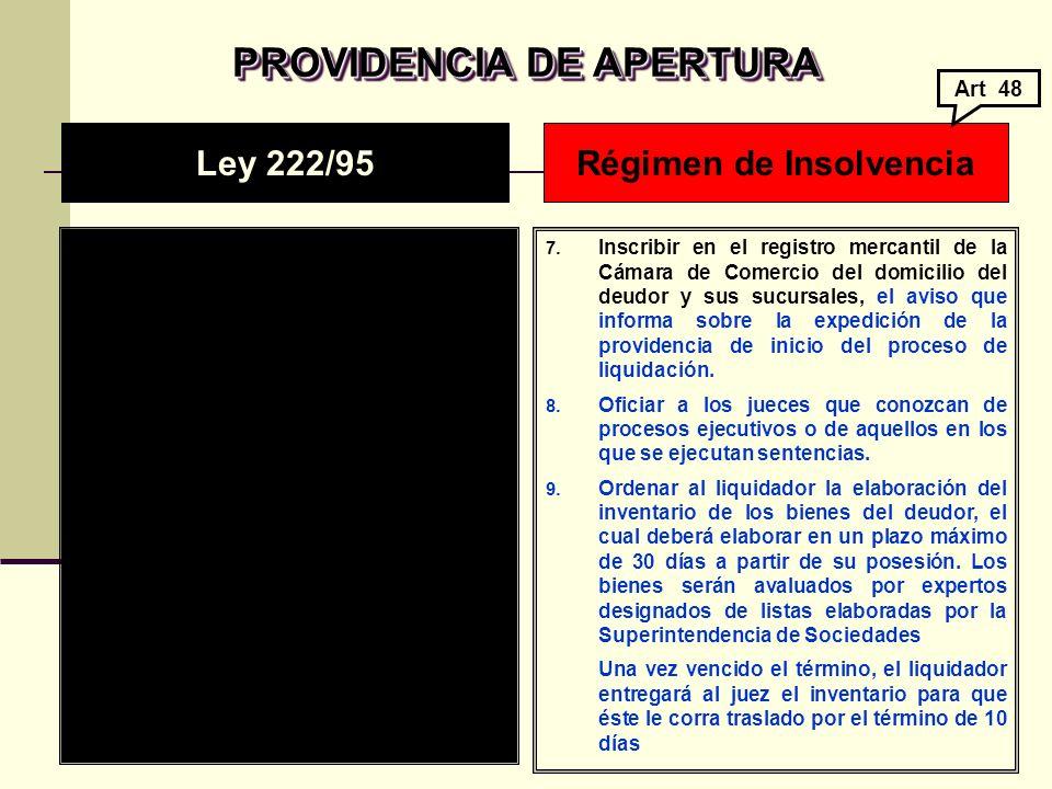 PROVIDENCIA DE APERTURA Régimen de Insolvencia