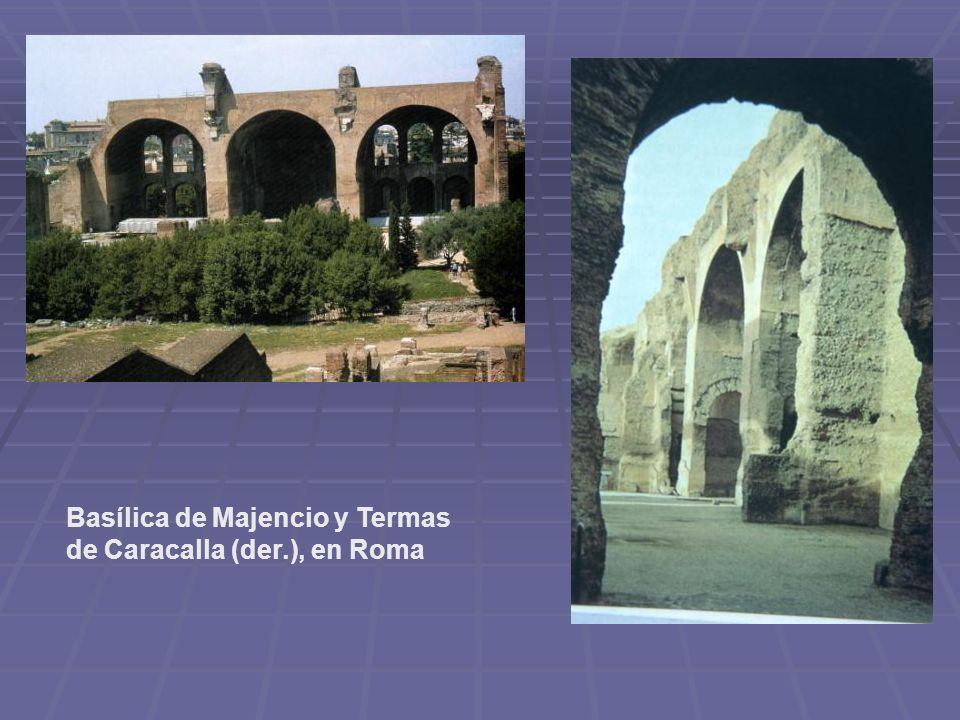 Basílica de Majencio y Termas de Caracalla (der.), en Roma
