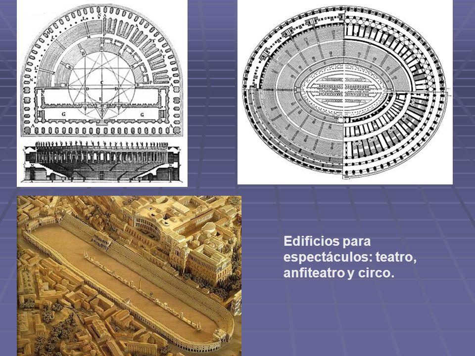 Edificios para espectáculos: teatro, anfiteatro y circo.