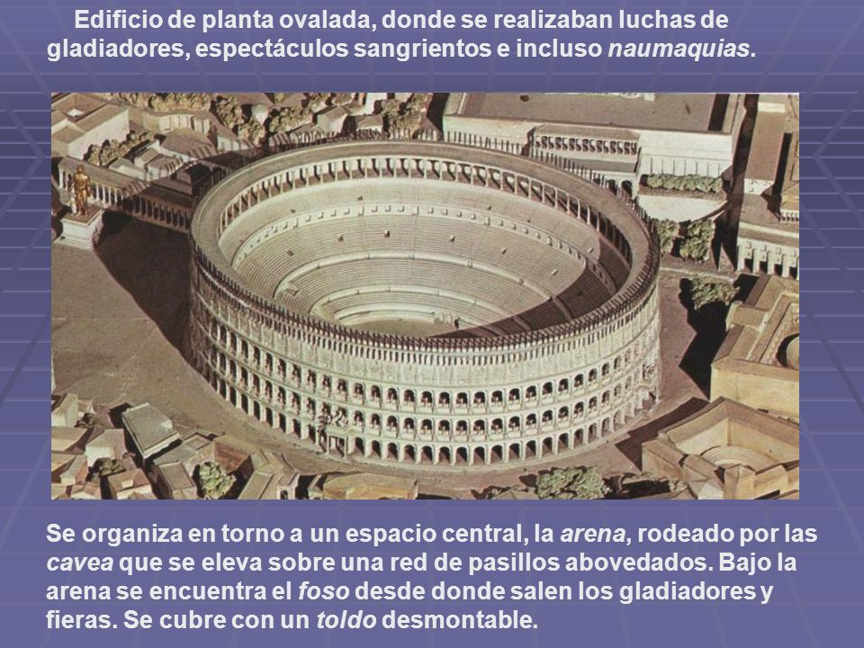 Edificio de planta ovalada, donde se realizaban luchas de gladiadores, espectáculos sangrientos e incluso naumaquias.