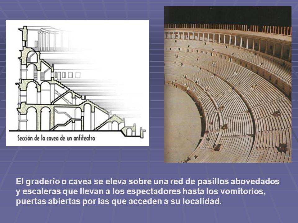 El graderío o cavea se eleva sobre una red de pasillos abovedados y escaleras que llevan a los espectadores hasta los vomitorios, puertas abiertas por las que acceden a su localidad.