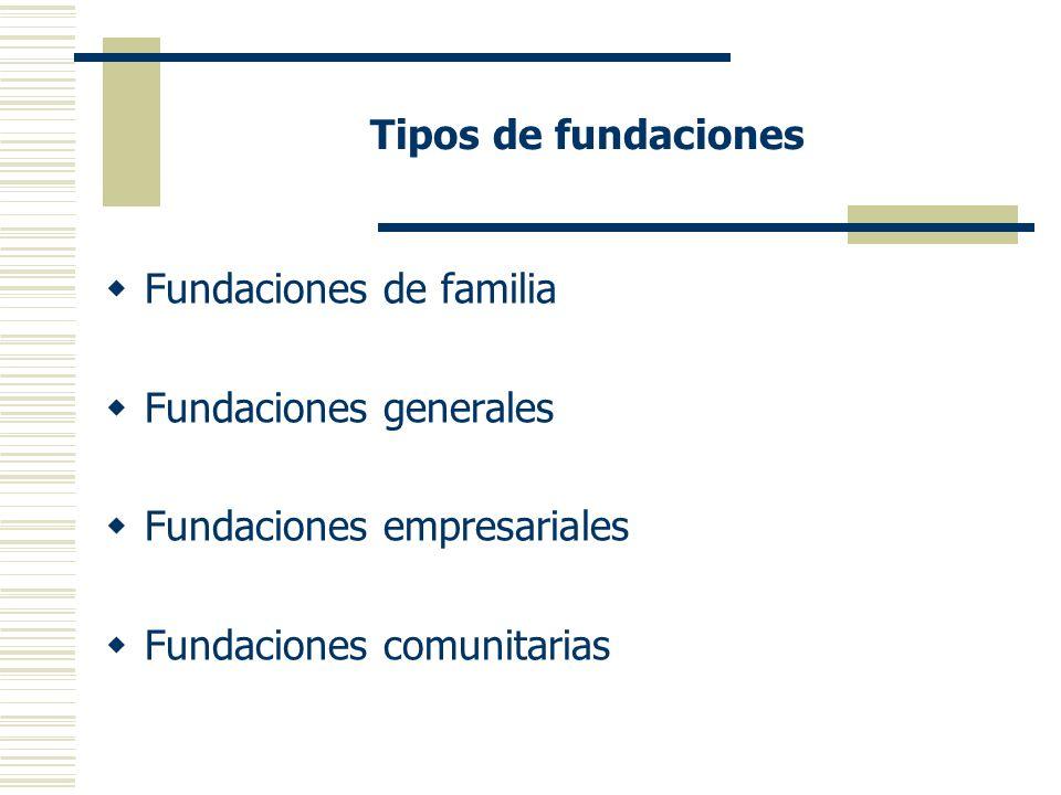 Tipos de fundaciones Fundaciones de familia. Fundaciones generales.