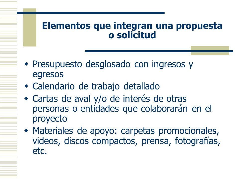 Elementos que integran una propuesta o solicitud