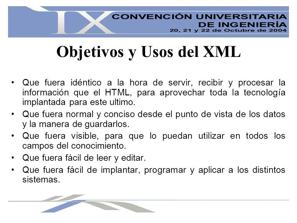 Objetivos y Usos del XML