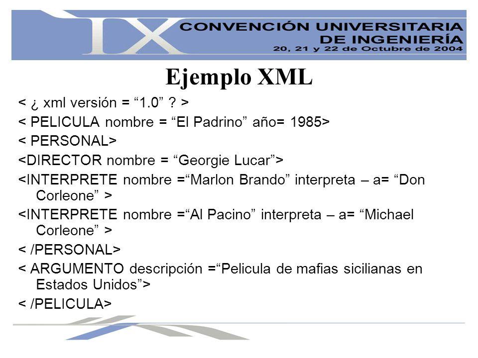 Ejemplo XML < ¿ xml versión = 1.0 >