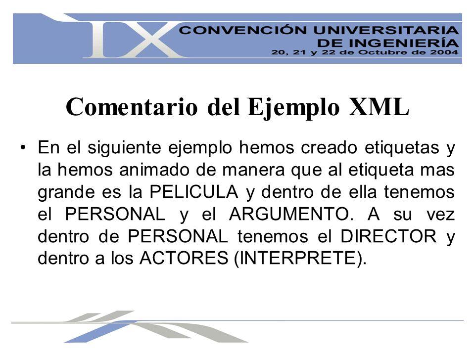 Comentario del Ejemplo XML