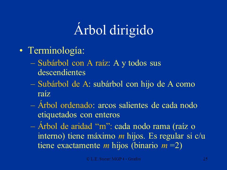 Árbol dirigido Terminología: