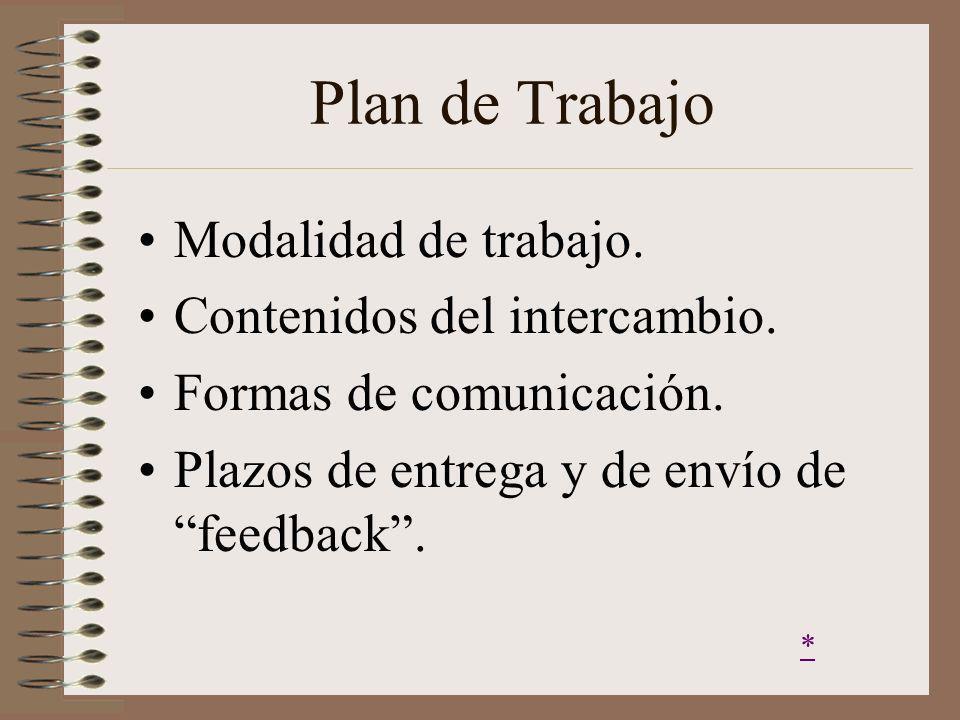 Plan de Trabajo Modalidad de trabajo. Contenidos del intercambio.
