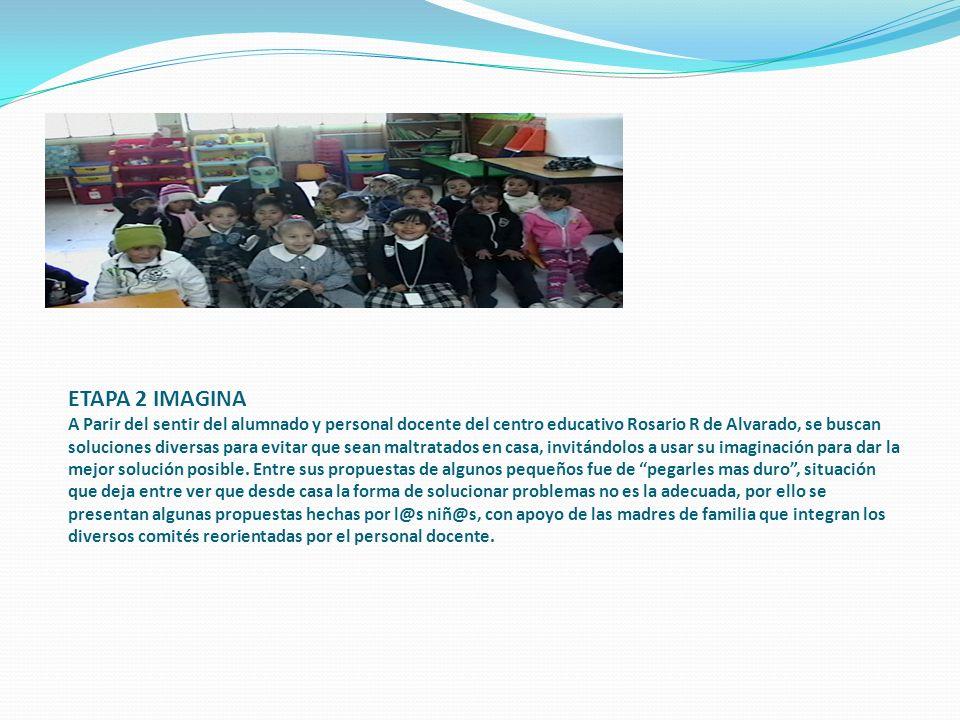 ETAPA 2 IMAGINA A Parir del sentir del alumnado y personal docente del centro educativo Rosario R de Alvarado, se buscan soluciones diversas para evitar que sean maltratados en casa, invitándolos a usar su imaginación para dar la mejor solución posible.