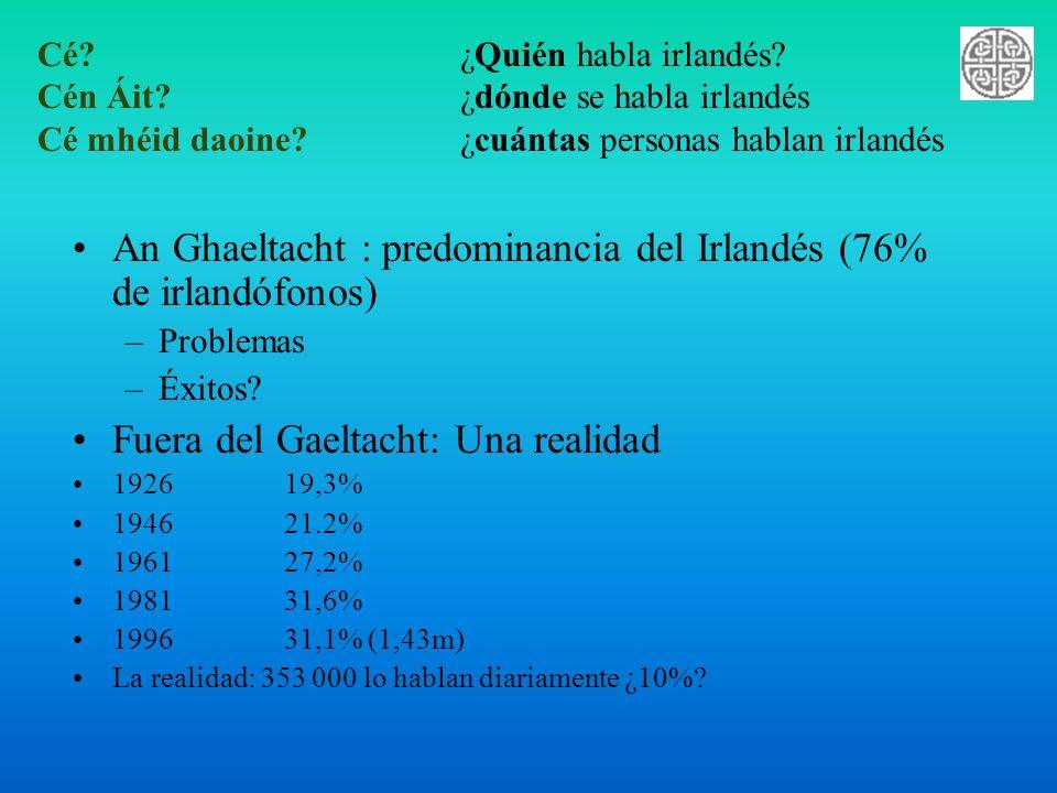 An Ghaeltacht : predominancia del Irlandés (76% de irlandófonos)