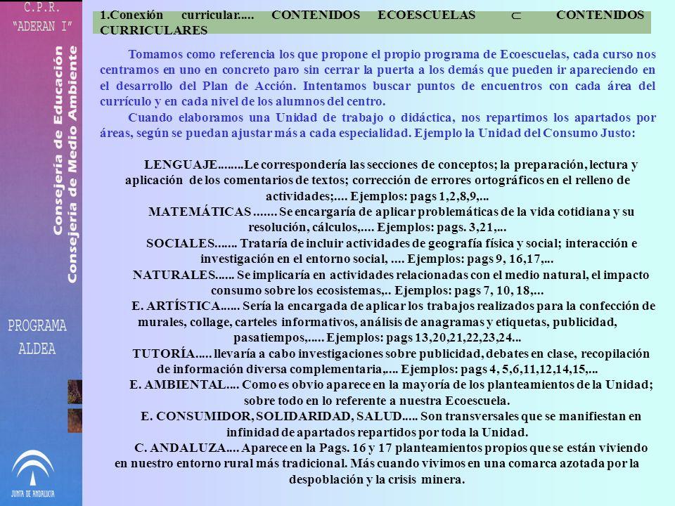 Conexión curricular..... CONTENIDOS ECOESCUELAS  CONTENIDOS CURRICULARES