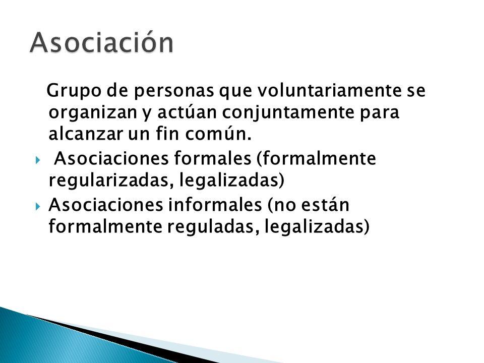 Asociación Grupo de personas que voluntariamente se organizan y actúan conjuntamente para alcanzar un fin común.