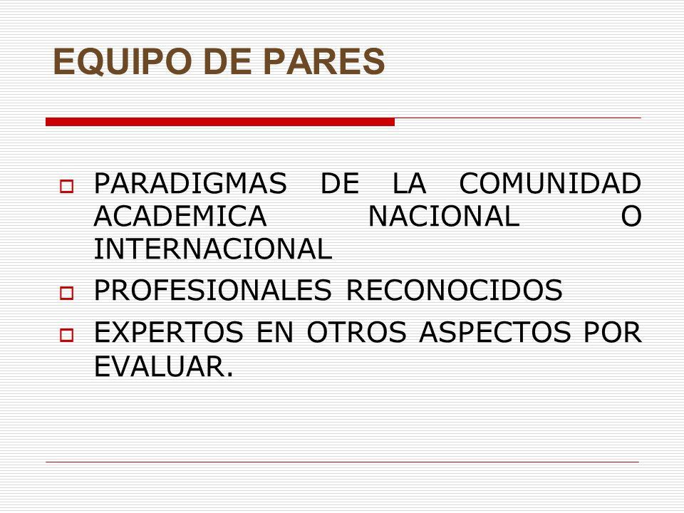 EQUIPO DE PARES PARADIGMAS DE LA COMUNIDAD ACADEMICA NACIONAL O INTERNACIONAL. PROFESIONALES RECONOCIDOS.