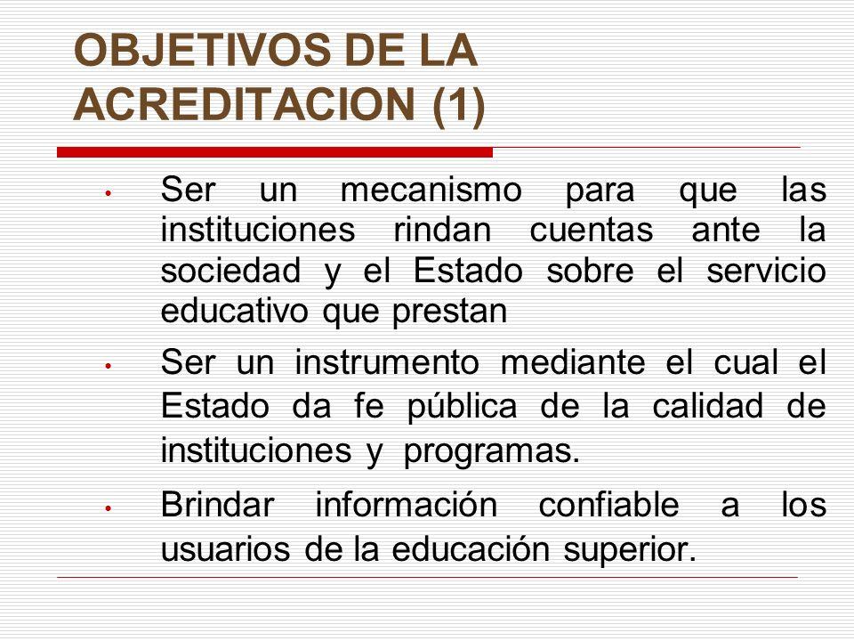 OBJETIVOS DE LA ACREDITACION (1)