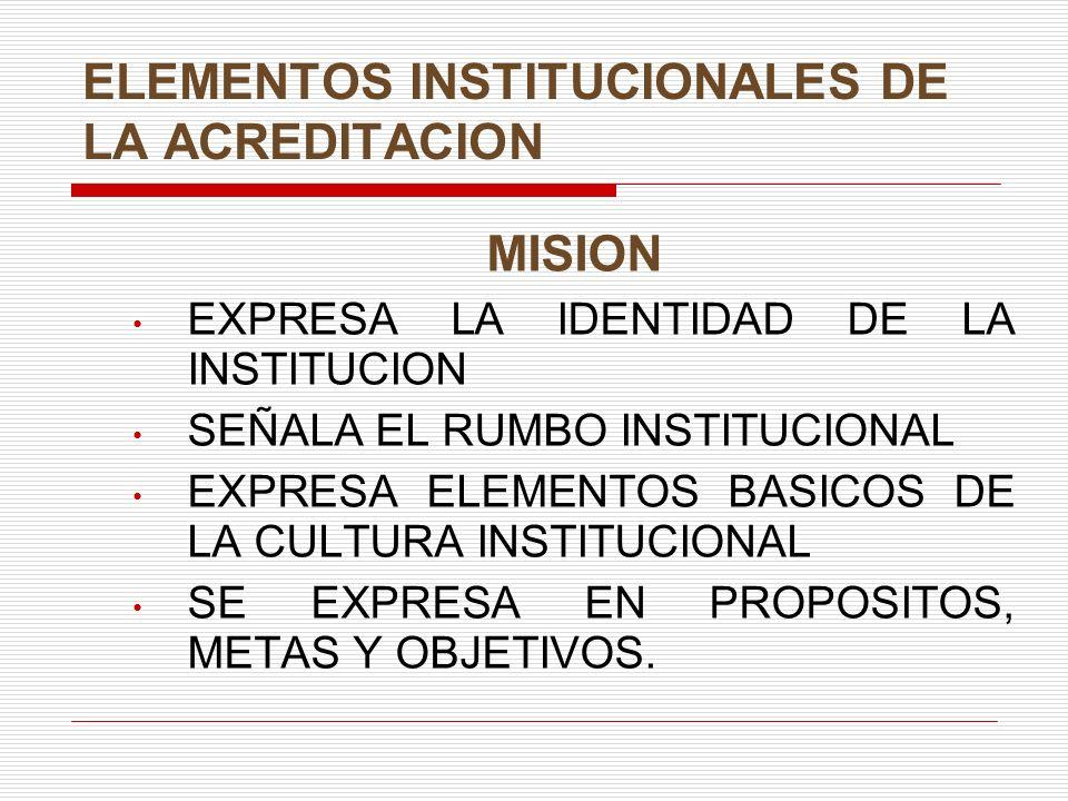 ELEMENTOS INSTITUCIONALES DE LA ACREDITACION