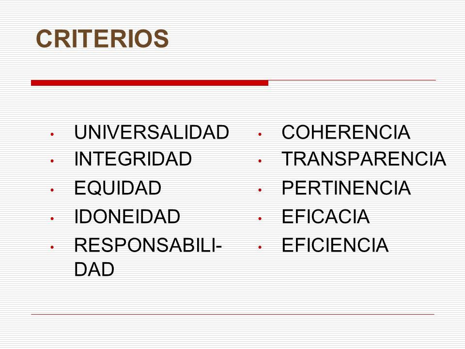 CRITERIOS UNIVERSALIDAD INTEGRIDAD EQUIDAD IDONEIDAD RESPONSABILI- DAD
