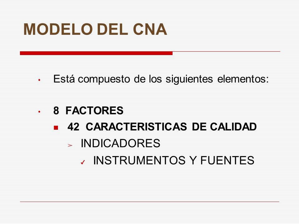 MODELO DEL CNA INDICADORES INSTRUMENTOS Y FUENTES