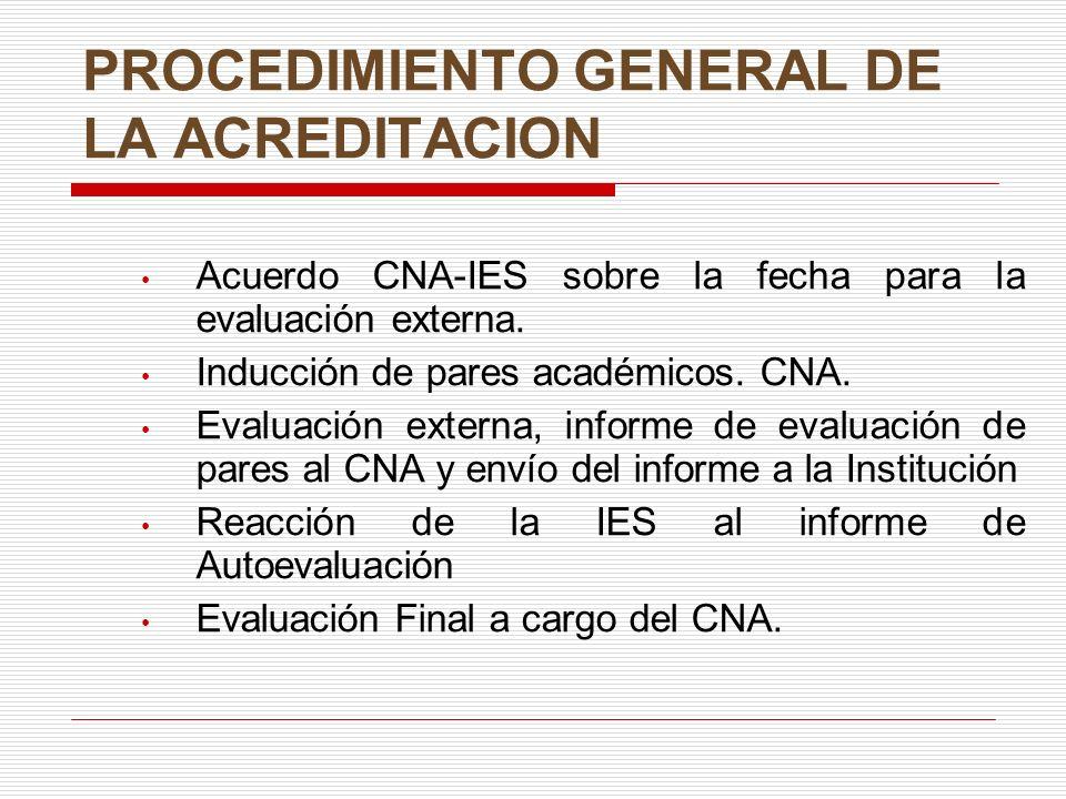 PROCEDIMIENTO GENERAL DE LA ACREDITACION
