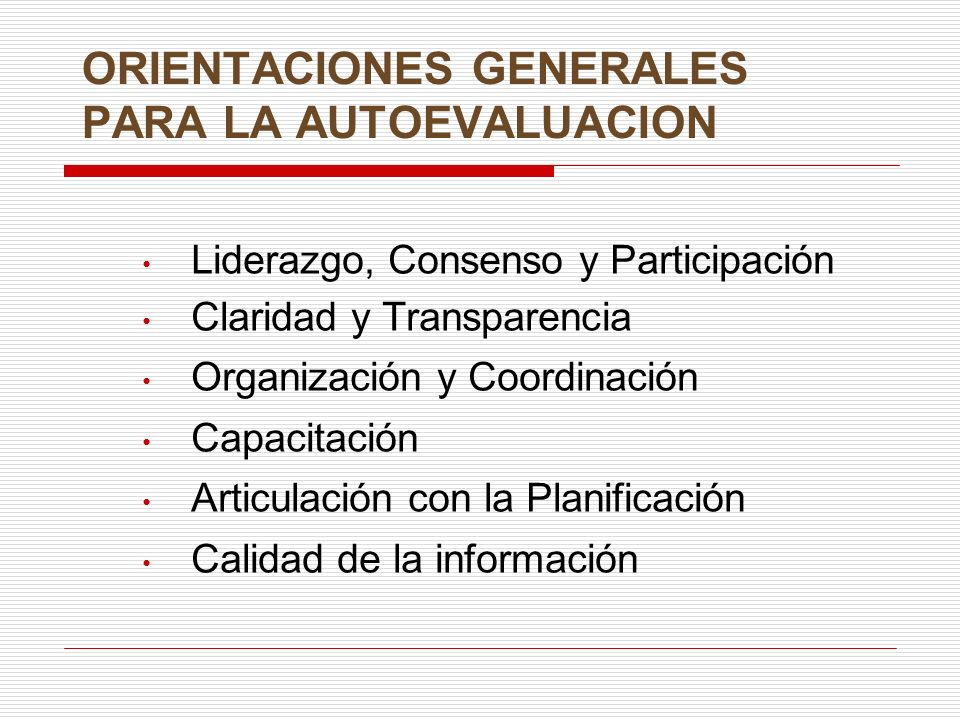 ORIENTACIONES GENERALES PARA LA AUTOEVALUACION
