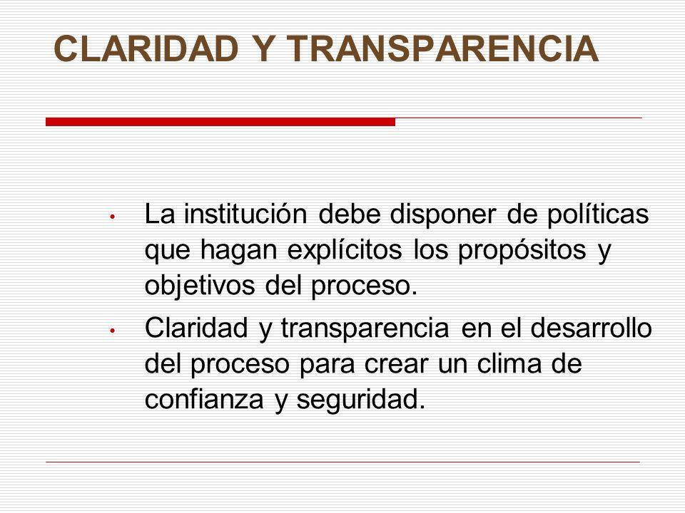 CLARIDAD Y TRANSPARENCIA