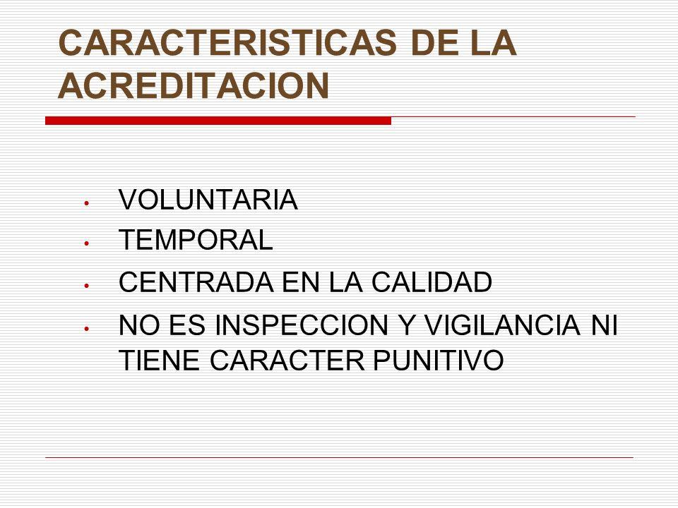 CARACTERISTICAS DE LA ACREDITACION