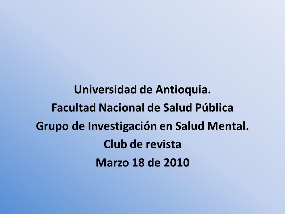Universidad de Antioquia. Facultad Nacional de Salud Pública