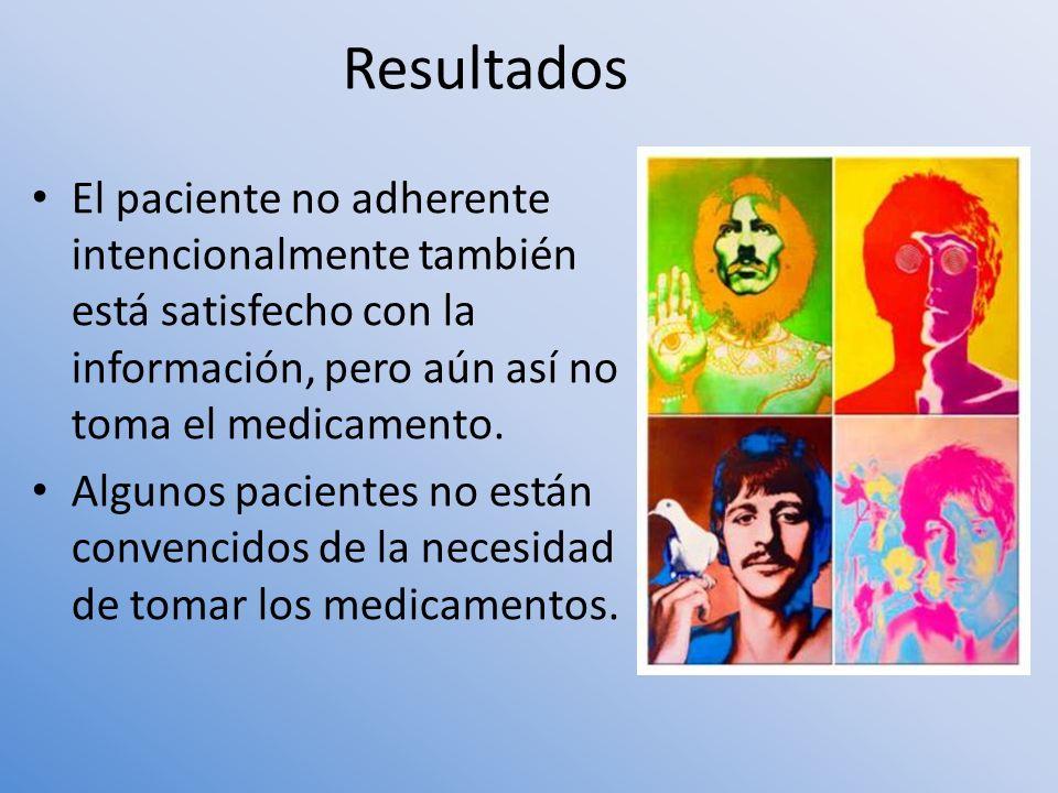 Resultados El paciente no adherente intencionalmente también está satisfecho con la información, pero aún así no toma el medicamento.