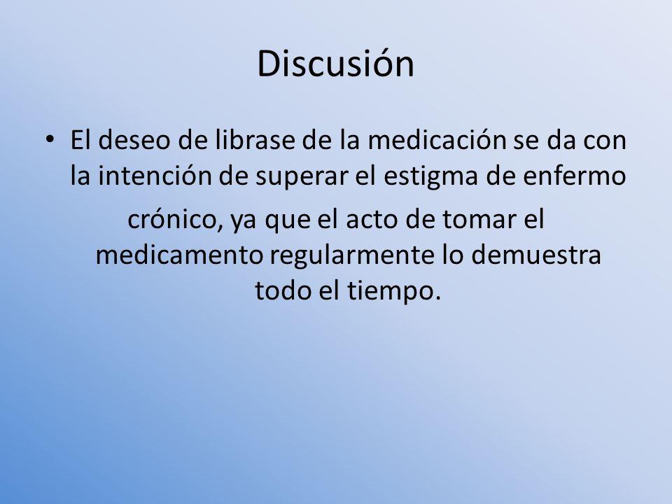 Discusión El deseo de librase de la medicación se da con la intención de superar el estigma de enfermo.