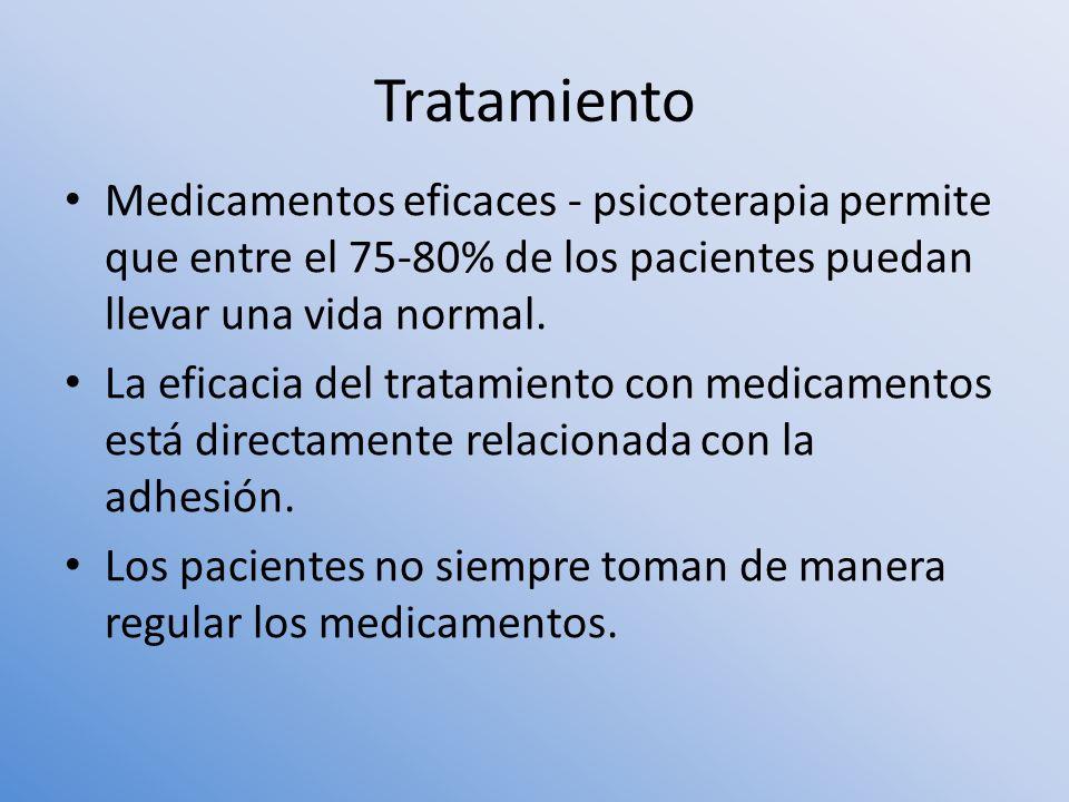 Tratamiento Medicamentos eficaces - psicoterapia permite que entre el 75-80% de los pacientes puedan llevar una vida normal.