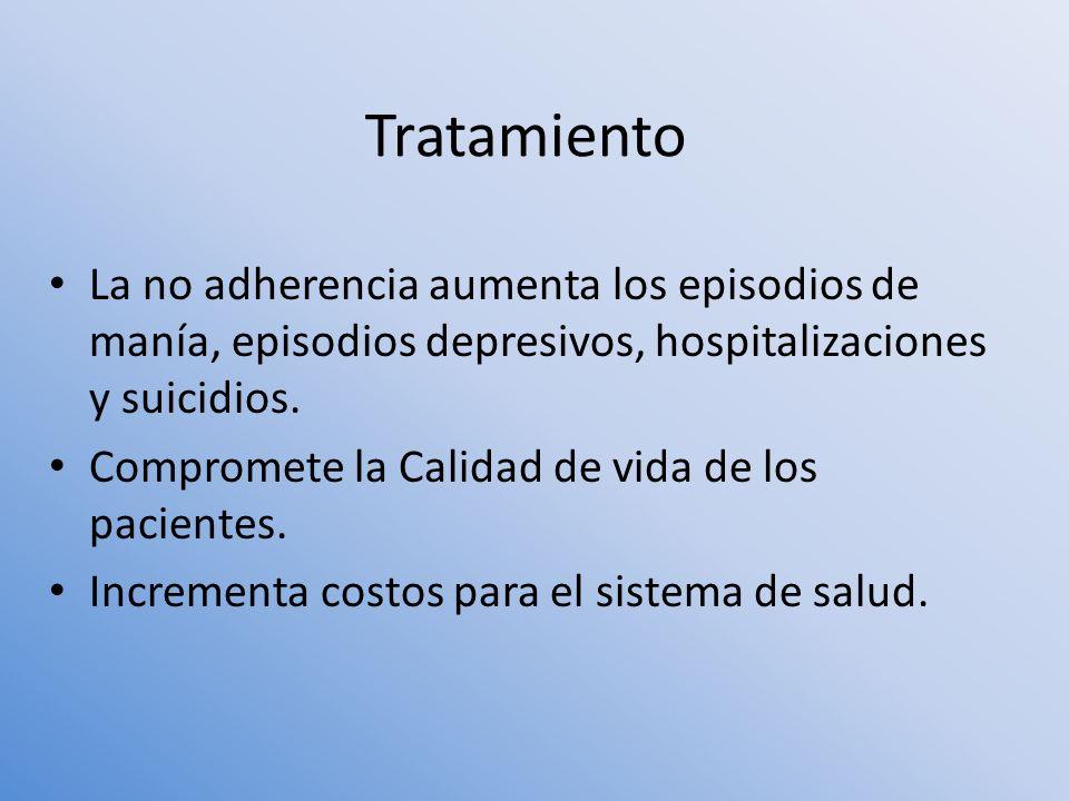 Tratamiento La no adherencia aumenta los episodios de manía, episodios depresivos, hospitalizaciones y suicidios.
