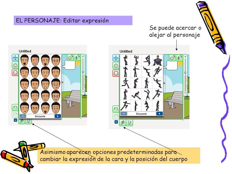 EL PERSONAJE: Editar expresión