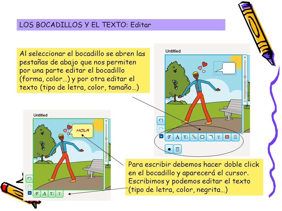 LOS BOCADILLOS Y EL TEXTO: Editar