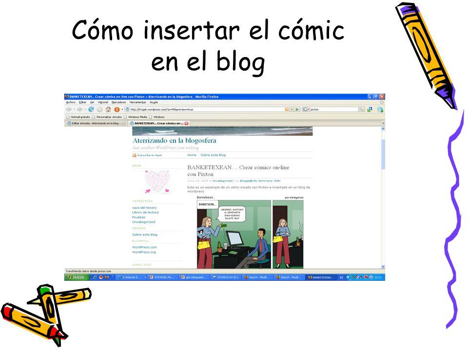 Cómo insertar el cómic en el blog