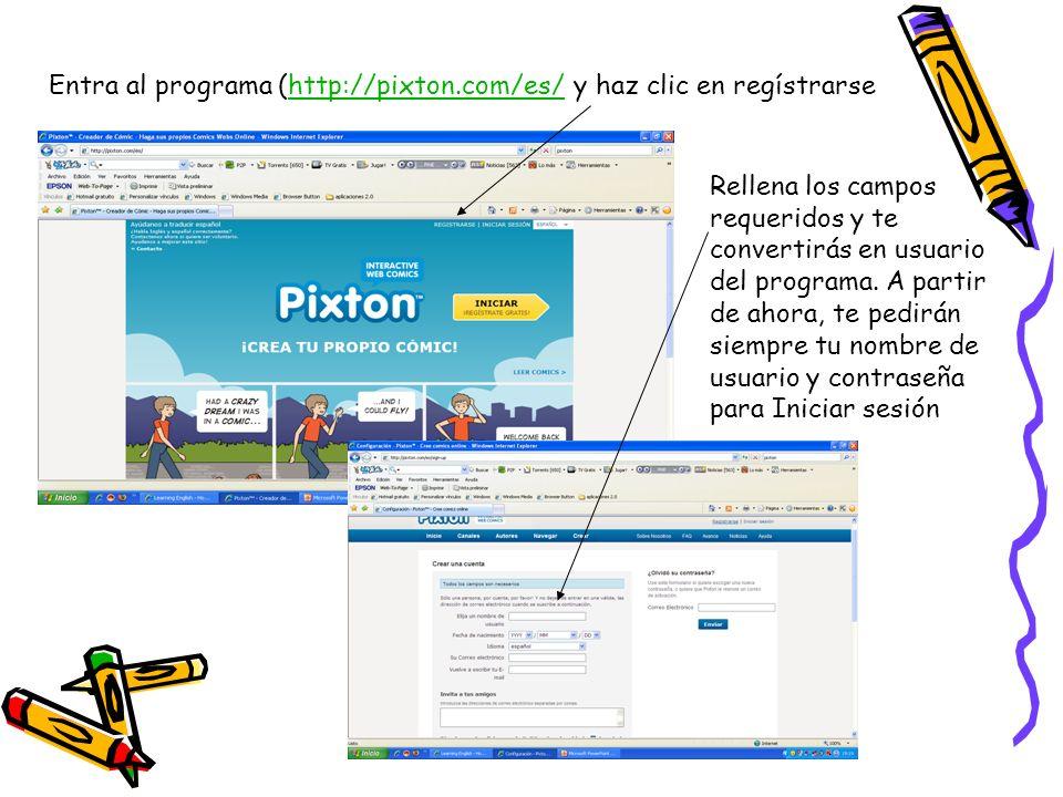 Entra al programa (http://pixton.com/es/ y haz clic en regístrarse