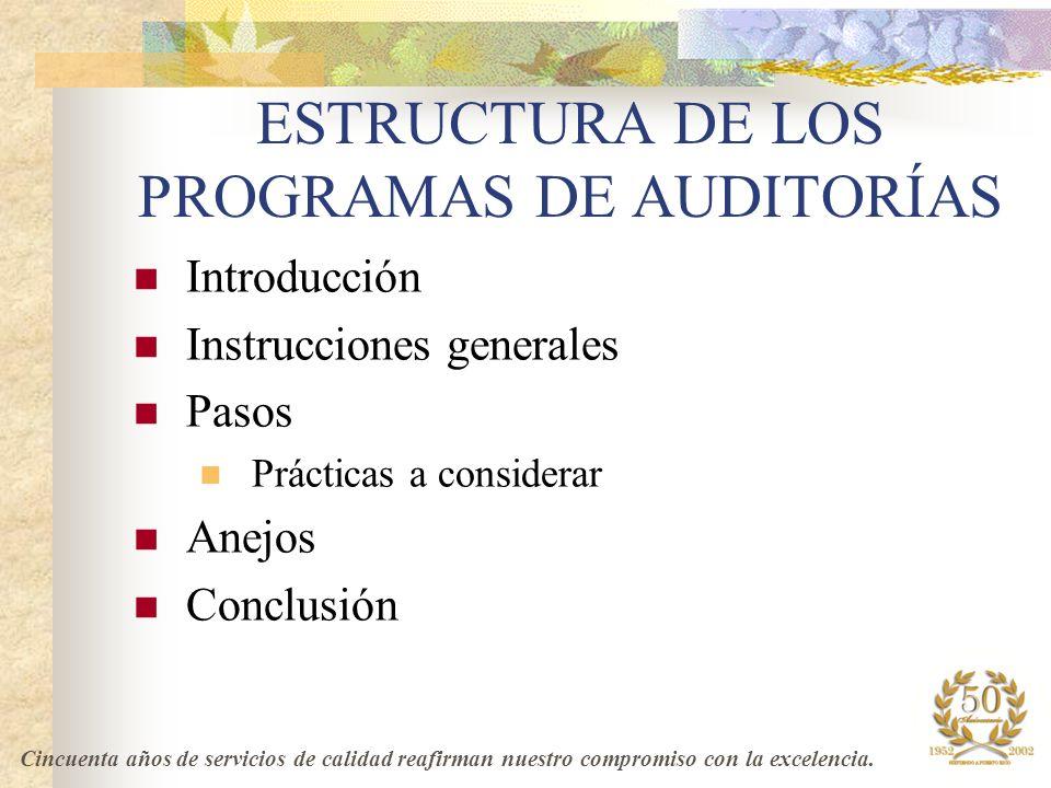 ESTRUCTURA DE LOS PROGRAMAS DE AUDITORÍAS
