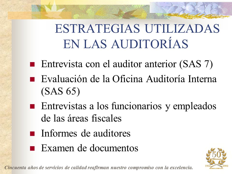 ESTRATEGIAS UTILIZADAS EN LAS AUDITORÍAS