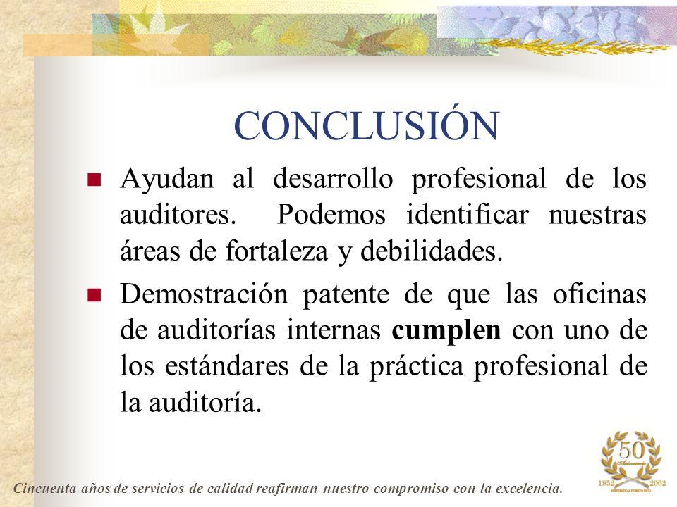 CONCLUSIÓN Ayudan al desarrollo profesional de los auditores. Podemos identificar nuestras áreas de fortaleza y debilidades.