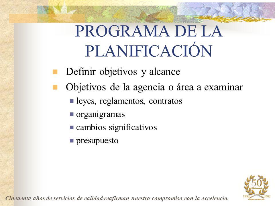 PROGRAMA DE LA PLANIFICACIÓN