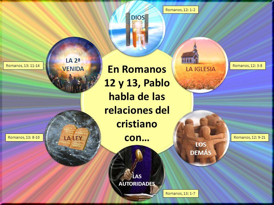 En Romanos 12 y 13, Pablo habla de las relaciones del cristiano con…