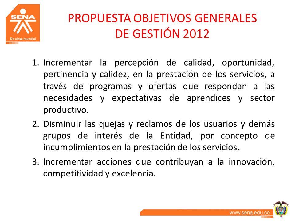PROPUESTA OBJETIVOS GENERALES DE GESTIÓN 2012