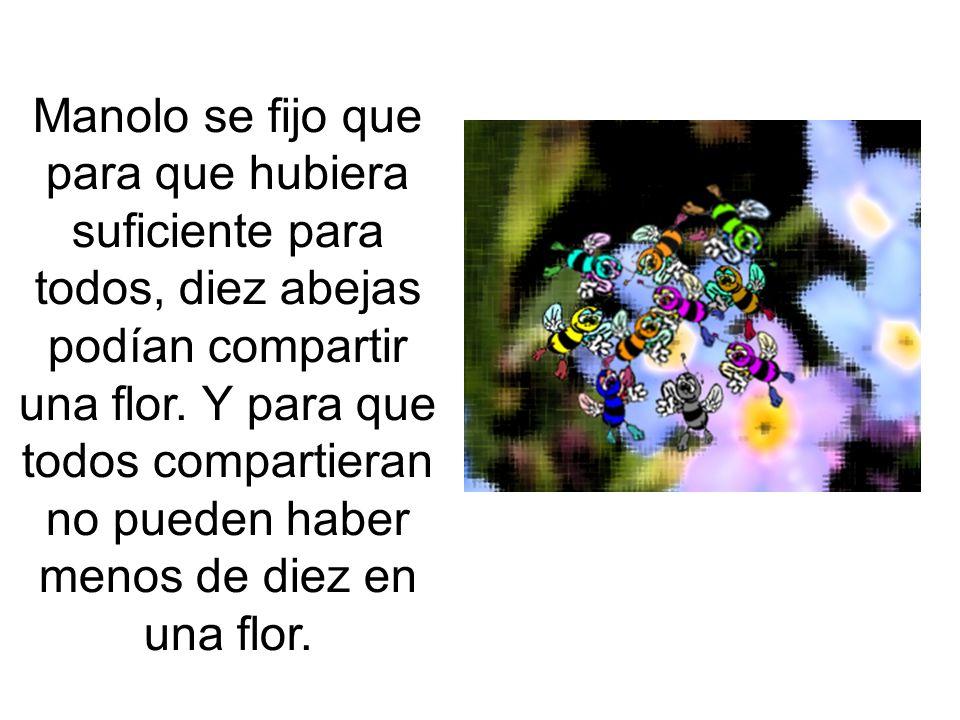 Manolo se fijo que para que hubiera suficiente para todos, diez abejas podían compartir una flor.
