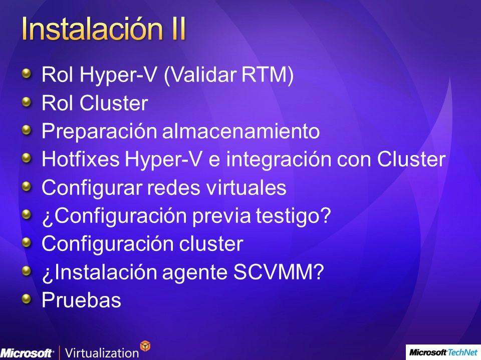 Instalación II Rol Hyper-V (Validar RTM) Rol Cluster