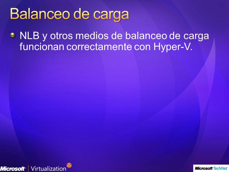 Balanceo de carga NLB y otros medios de balanceo de carga funcionan correctamente con Hyper-V.