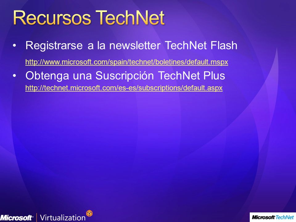 Recursos TechNet Registrarse a la newsletter TechNet Flash