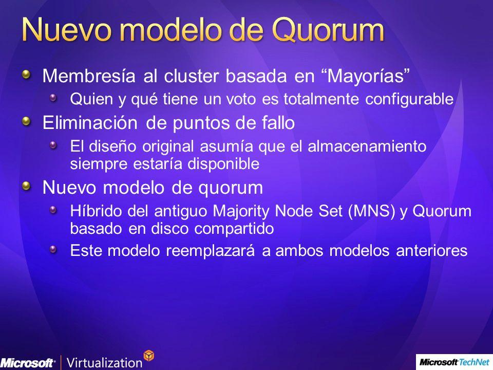 Nuevo modelo de Quorum Membresía al cluster basada en Mayorías
