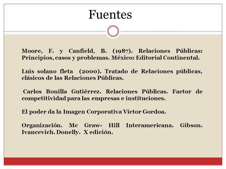 Fuentes Moore, F. y Canfield, B. (1987). Relaciones Públicas: Principios, casos y problemas. México: Editorial Continental.