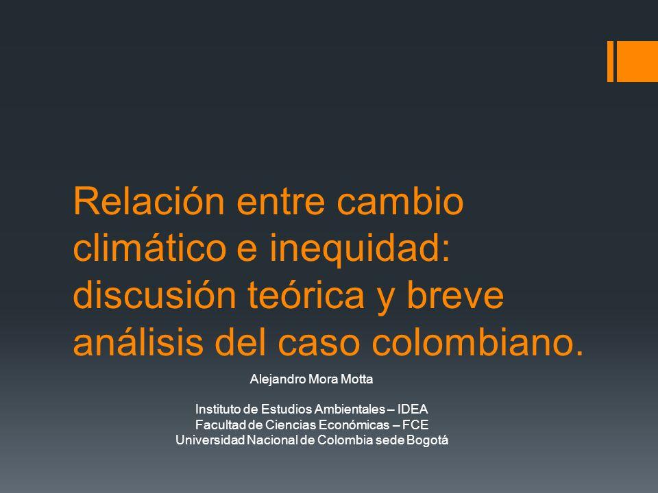 Relación entre cambio climático e inequidad: discusión teórica y breve análisis del caso colombiano.