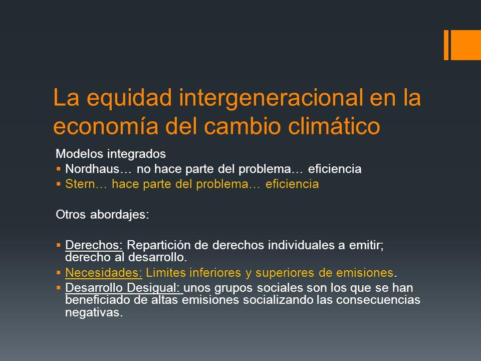 La equidad intergeneracional en la economía del cambio climático